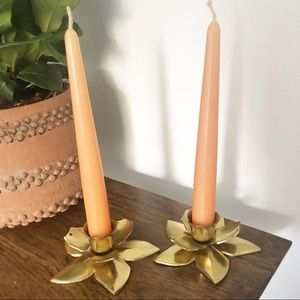 Brass Lotus Flower Candlestick Holder Boho Decor